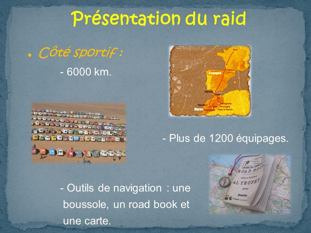 Présentation du raid Côté sportif : - 6000 km.