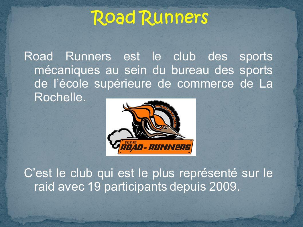 Road Runners Road Runners est le club des sports mécaniques au sein du bureau des sports de l'école supérieure de commerce de La Rochelle.
