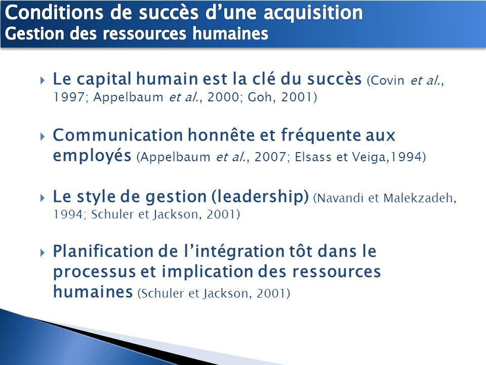 Conditions de succès d'une acquisition