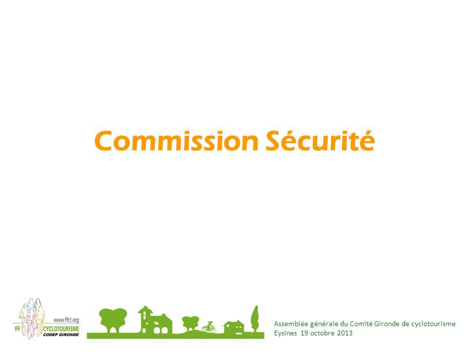 Commission Sécurité Assemblée générale du Comité Gironde de cyclotourisme Eysines 19 octobre 2013