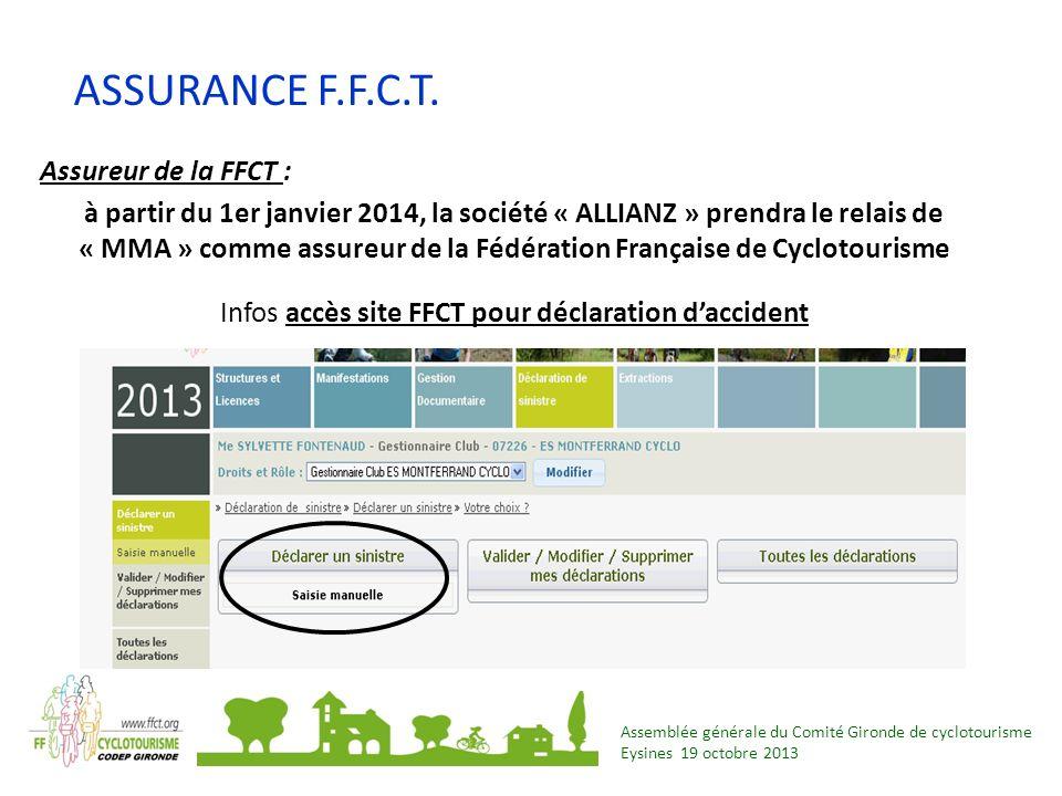 Infos accès site FFCT pour déclaration d'accident