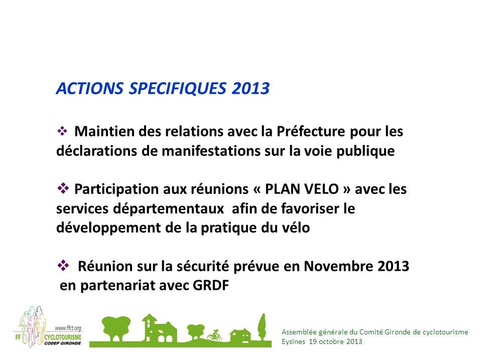 ACTIONS SPECIFIQUES 2013 Maintien des relations avec la Préfecture pour les déclarations de manifestations sur la voie publique.