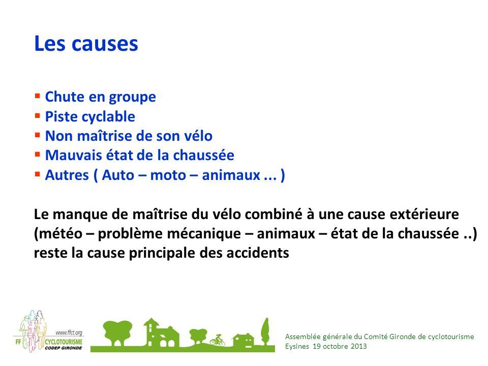 Les causes Chute en groupe Piste cyclable Non maîtrise de son vélo