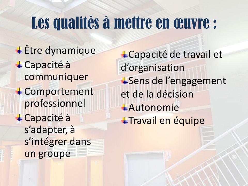 Les qualités à mettre en œuvre :