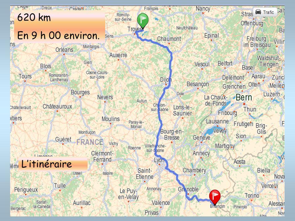620 km En 9 h 00 environ. L'itinéraire