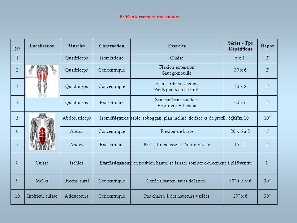 B: Renforcement musculaire