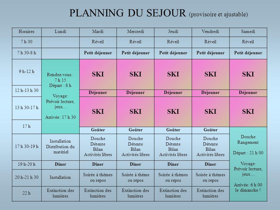 PLANNING DU SEJOUR (provisoire et ajustable)