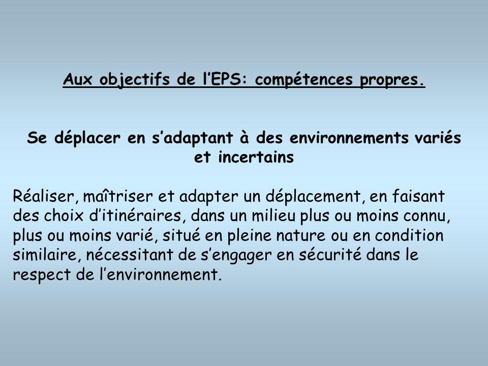 Aux objectifs de l'EPS: compétences propres.