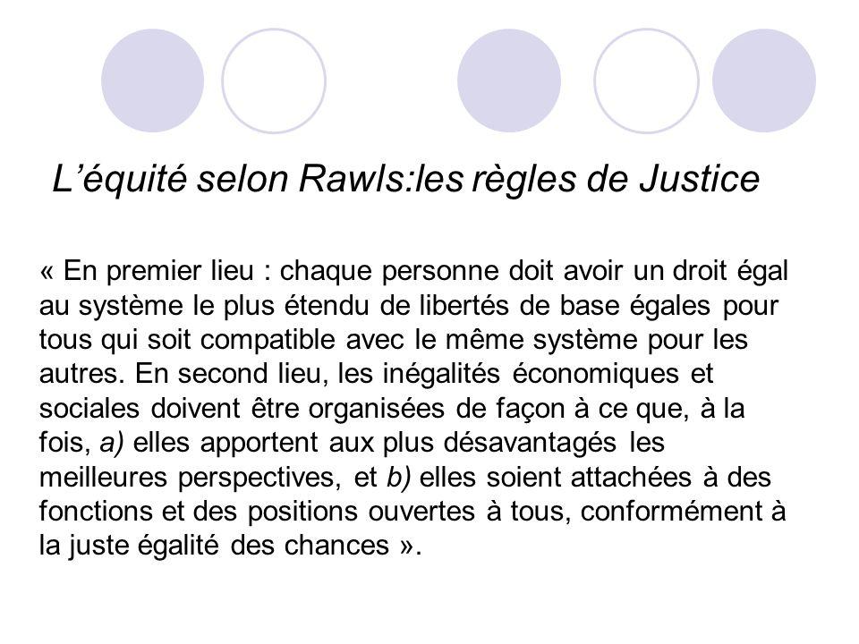 L'équité selon Rawls:les règles de Justice