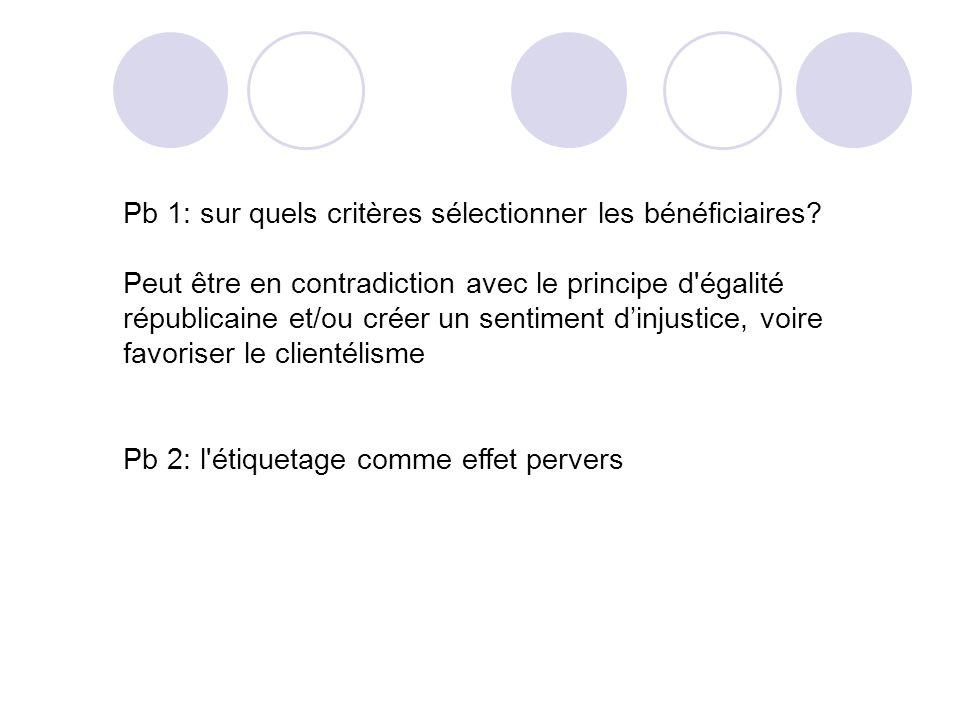 Pb 1: sur quels critères sélectionner les bénéficiaires