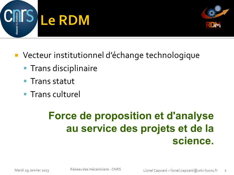 Le RDM Vecteur institutionnel d'échange technologique. Trans disciplinaire. Trans statut. Trans culturel.