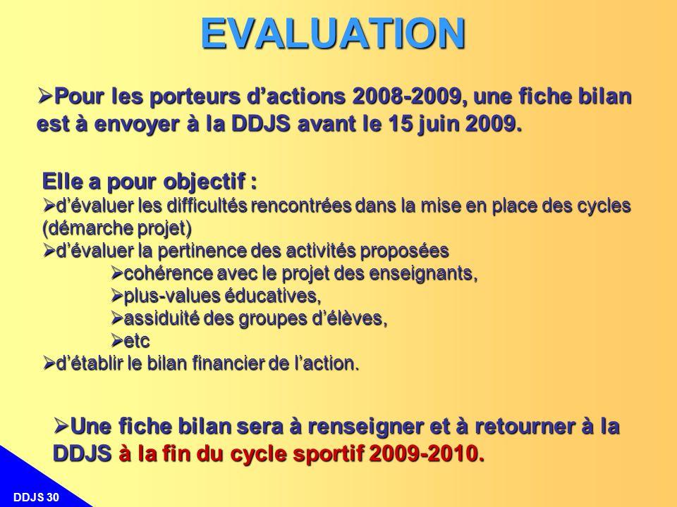 EVALUATION Pour les porteurs d'actions 2008-2009, une fiche bilan est à envoyer à la DDJS avant le 15 juin 2009.