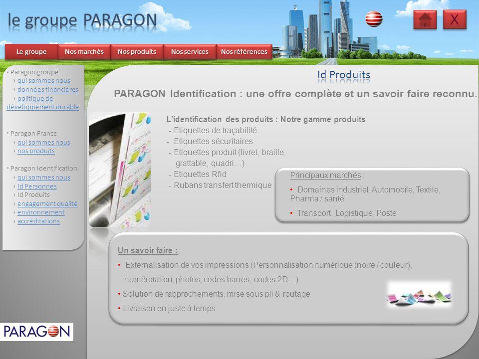 le groupe PARAGON X Id Produits