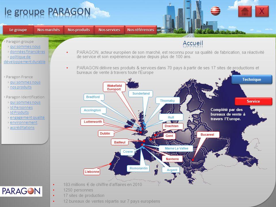 le groupe PARAGON X Accueil Le groupe Nos marchés Nos produits