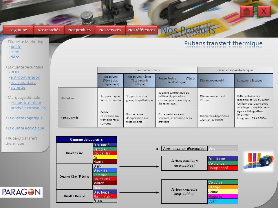 Nos Produits X Rubans transfert thermique Le groupe Nos marchés