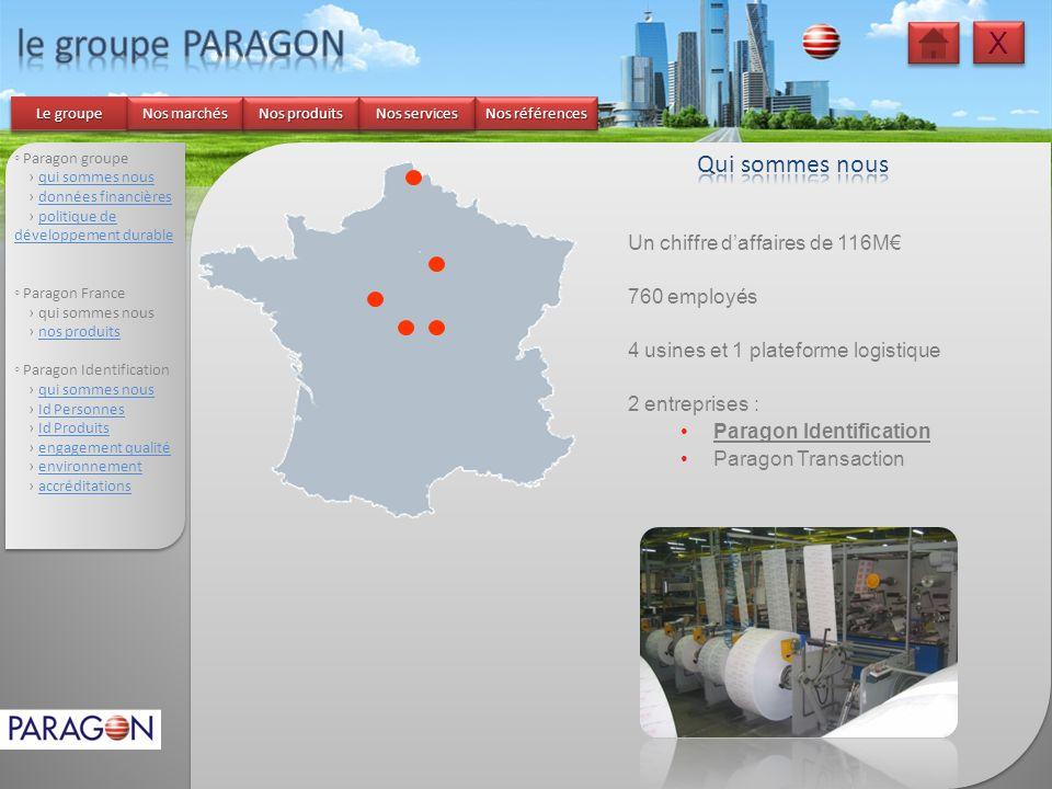 le groupe PARAGON X Qui sommes nous Un chiffre d'affaires de 116M€