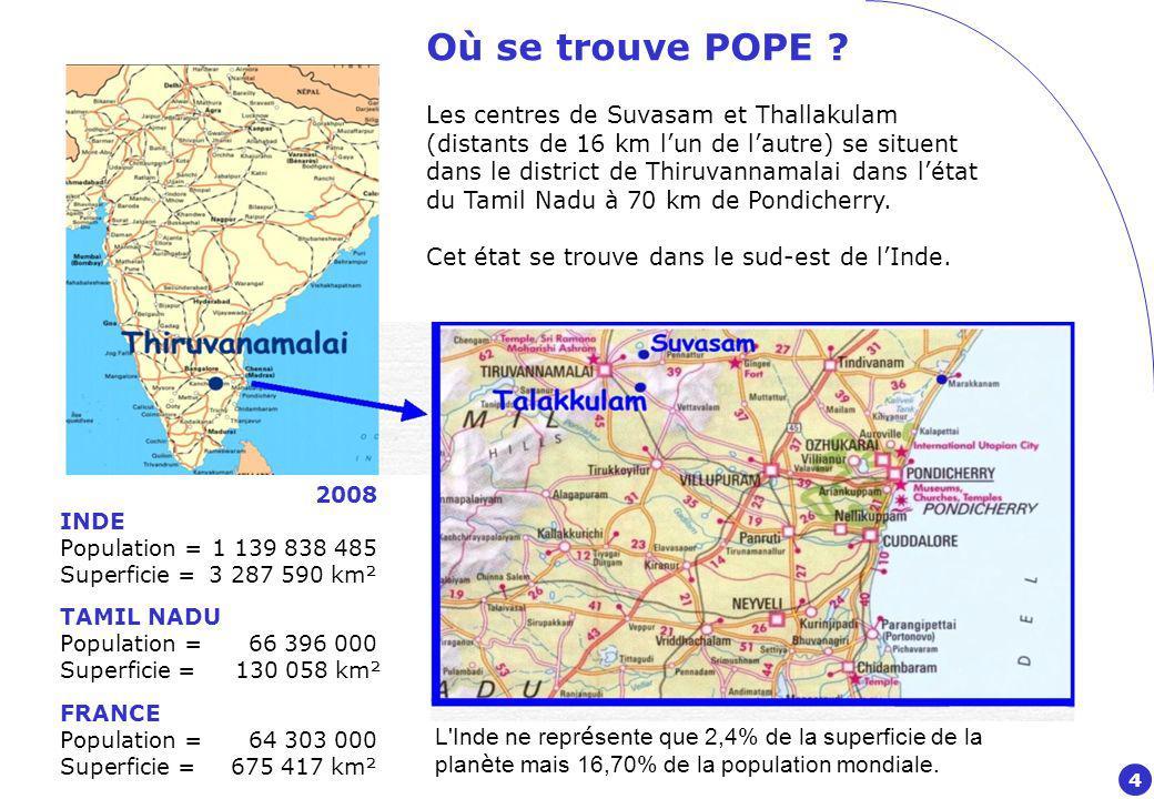 Où se trouve POPE Les centres de Suvasam et Thallakulam
