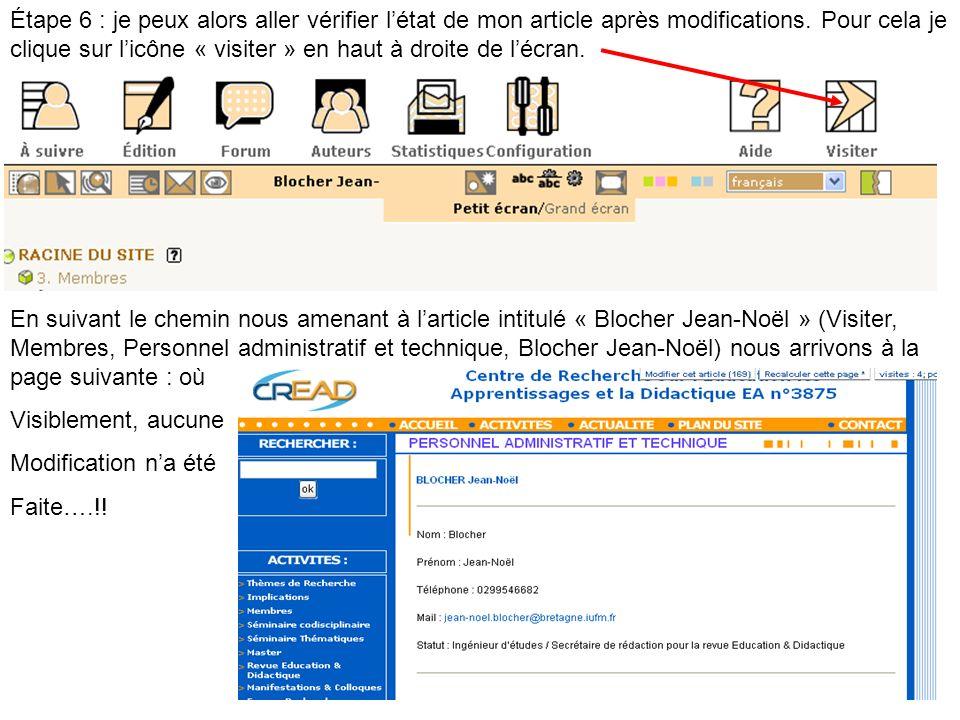 Étape 6 : je peux alors aller vérifier l'état de mon article après modifications. Pour cela je clique sur l'icône « visiter » en haut à droite de l'écran.