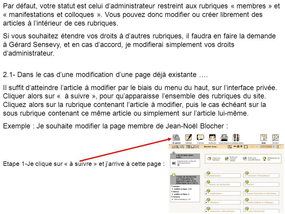 2.1- Dans le cas d'une modification d'une page déjà existante ….