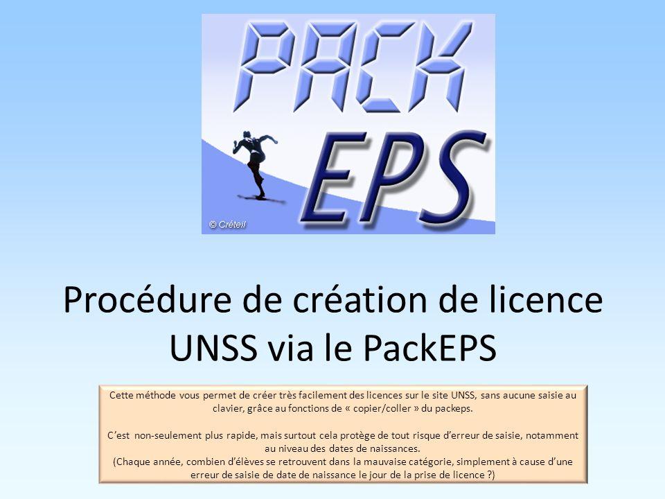 Procédure de création de licence UNSS via le PackEPS