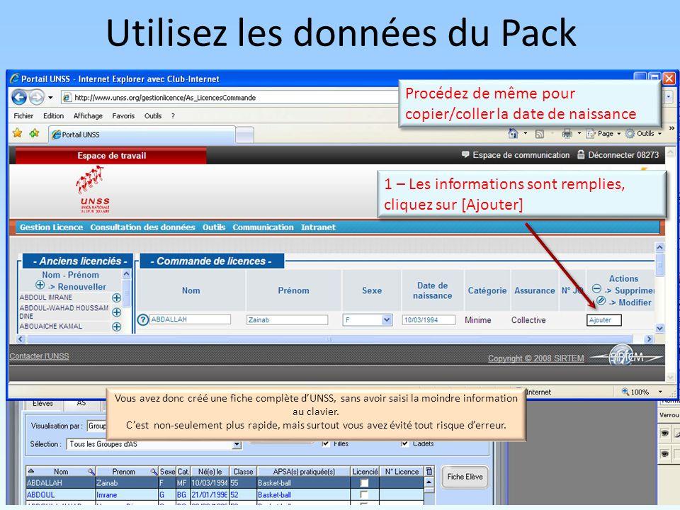 Utilisez les données du Pack