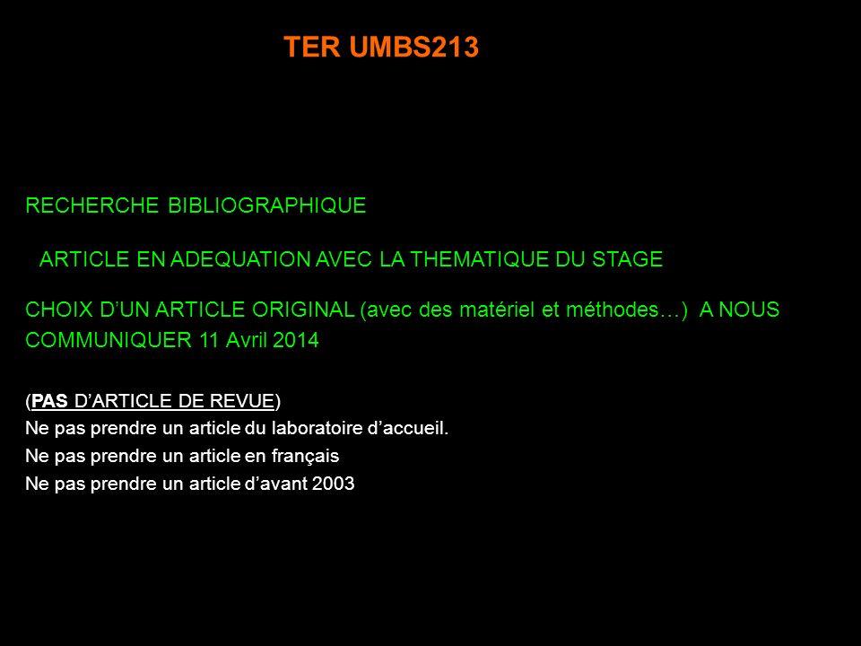 TER UMBS213 RECHERCHE BIBLIOGRAPHIQUE