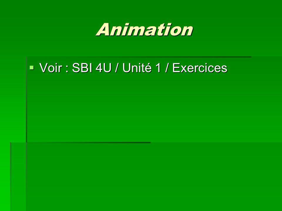 Animation Voir : SBI 4U / Unité 1 / Exercices