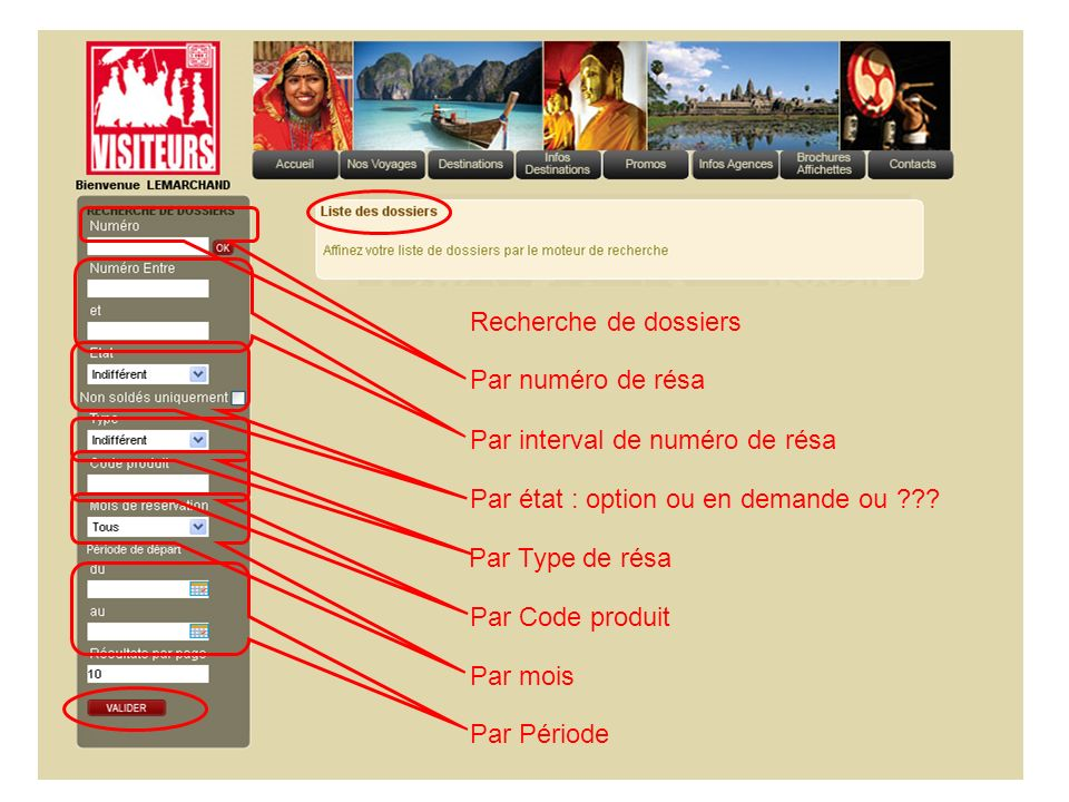 Recherche de dossiers Par numéro de résa. Par interval de numéro de résa. Par état : option ou en demande ou