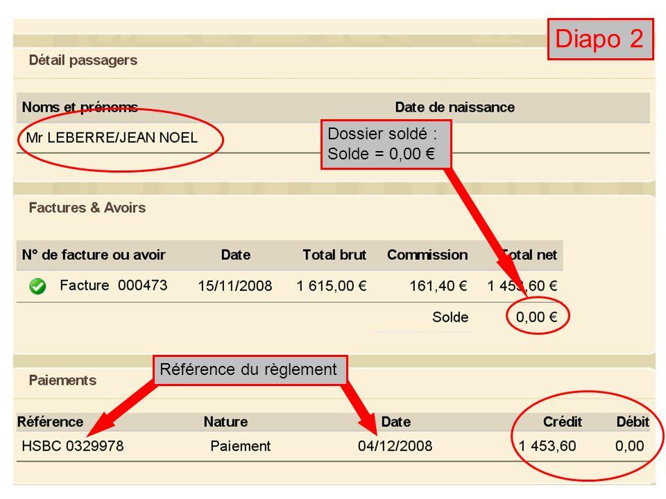 Diapo 2 Dossier soldé : Solde = 0,00 € Référence du règlement