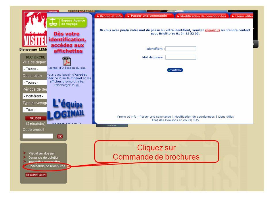 Cliquez sur Commande de brochures