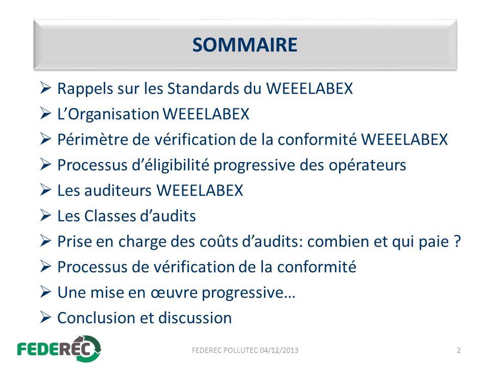 SOMMAIRE Rappels sur les Standards du WEEELABEX