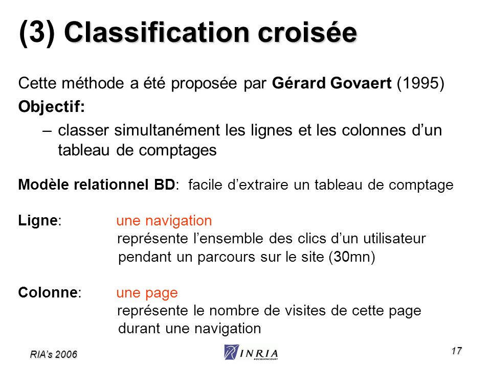 (3) Classification croisée