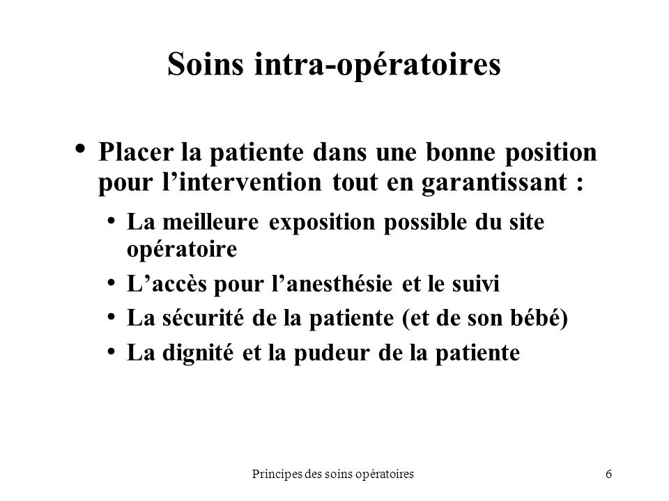 Soins intra-opératoires