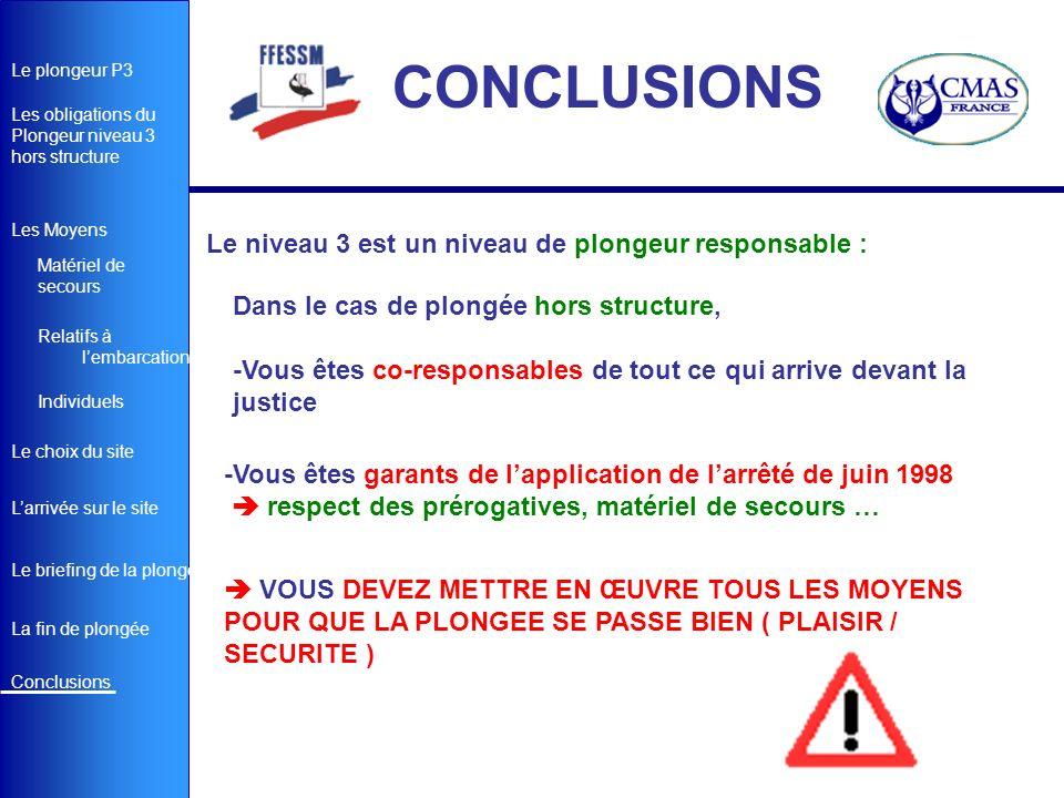 CONCLUSIONS Le niveau 3 est un niveau de plongeur responsable :