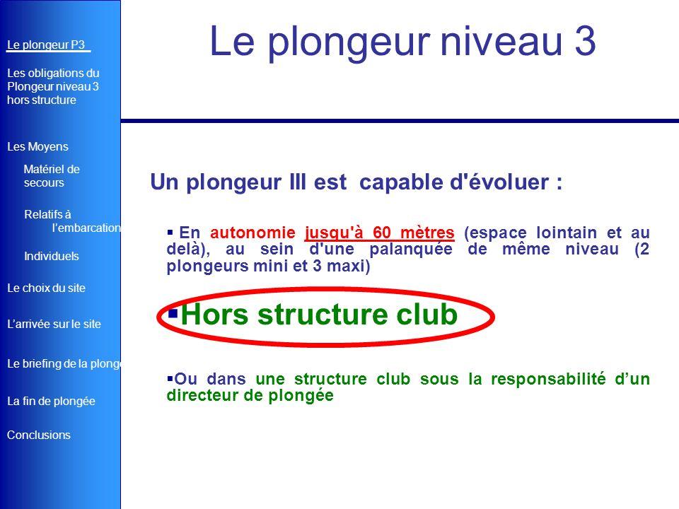 Le plongeur niveau 3 Hors structure club