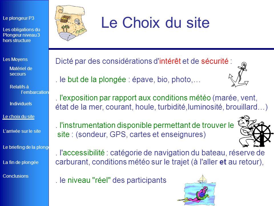 Le Choix du site Dicté par des considérations d intérêt et de sécurité : . le but de la plongée : épave, bio, photo,…