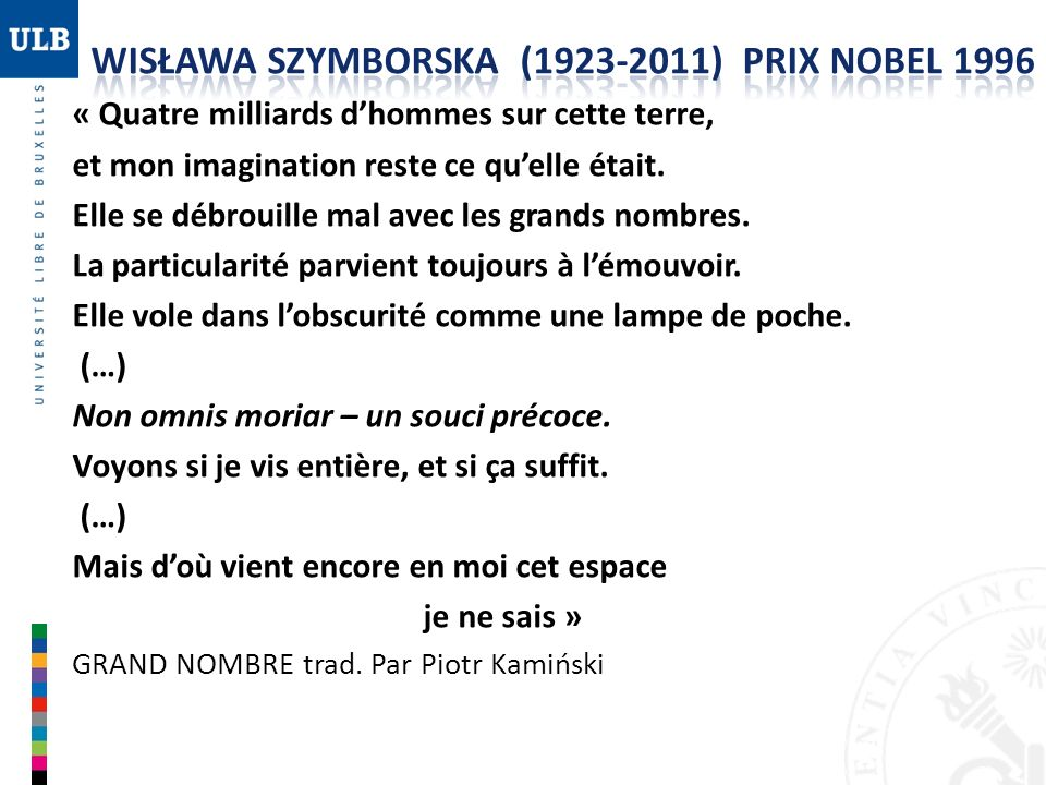 WISŁAWA SZYMBORSKA (1923-2011) PRIX NOBEL 1996