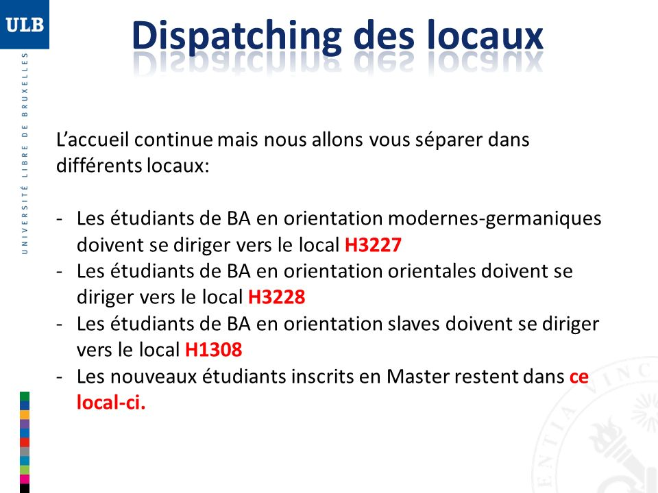 Dispatching des locaux