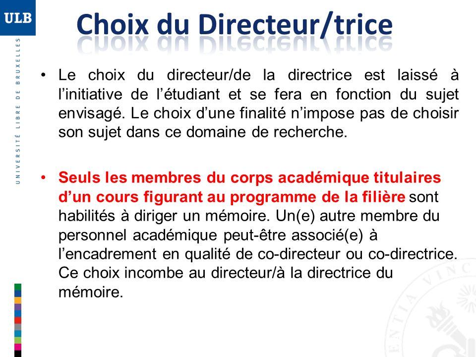 Choix du Directeur/trice