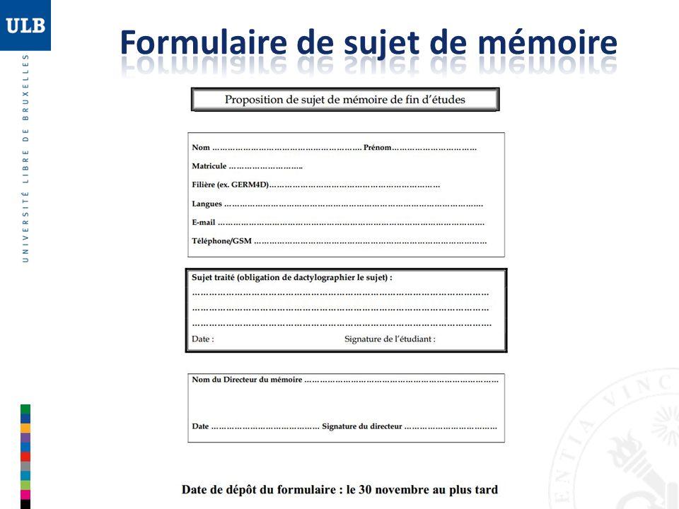 Formulaire de sujet de mémoire