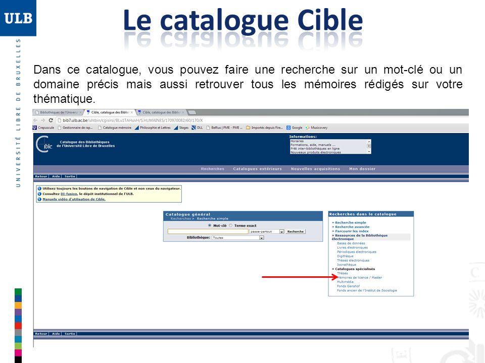 Le catalogue Cible