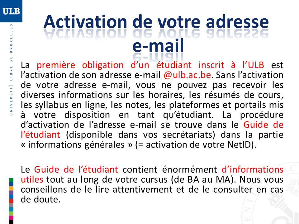 Activation de votre adresse e-mail