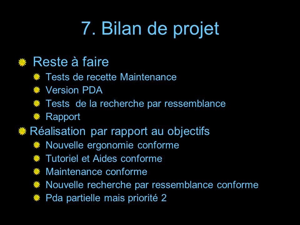 7. Bilan de projet Reste à faire Réalisation par rapport au objectifs