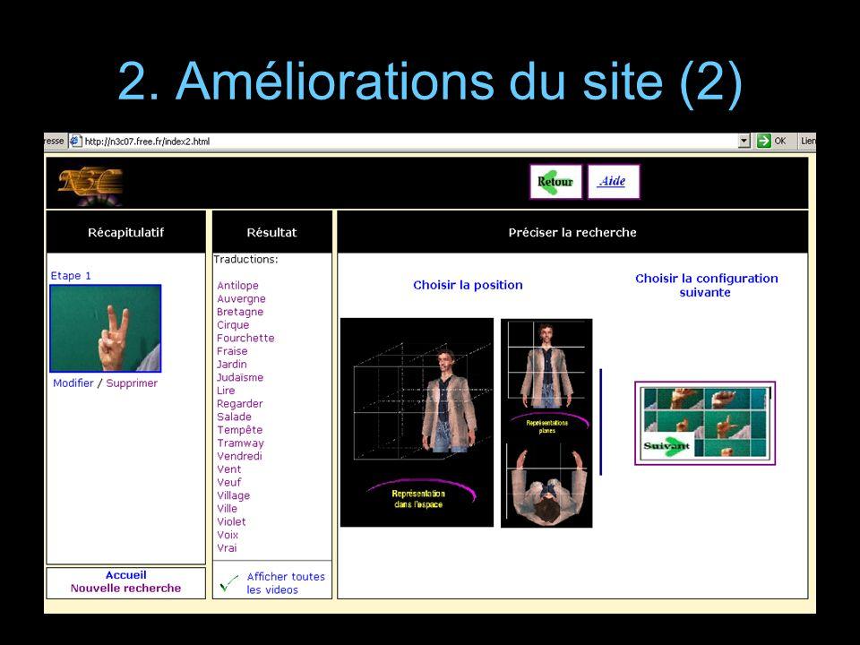 2. Améliorations du site (2)