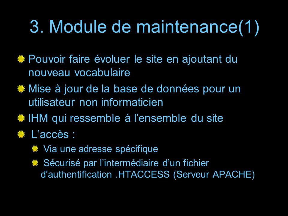 3. Module de maintenance(1)