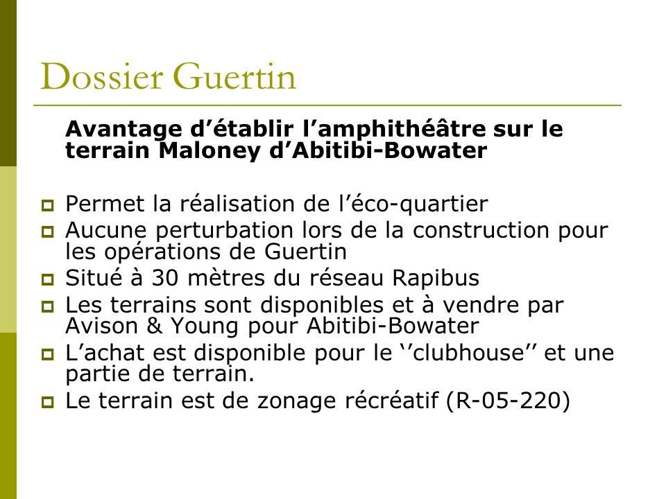 Dossier Guertin Avantage d'établir l'amphithéâtre sur le terrain Maloney d'Abitibi-Bowater. Permet la réalisation de l'éco-quartier.