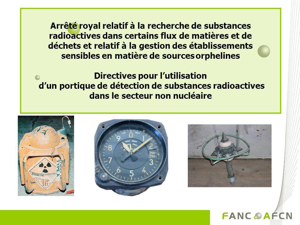 Arrêté royal relatif à la recherche de substances radioactives dans certains flux de matières et de déchets et relatif à la gestion des établissements sensibles en matière de sources orphelines