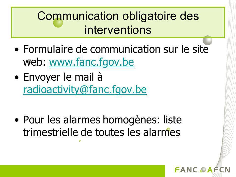 Communication obligatoire des interventions