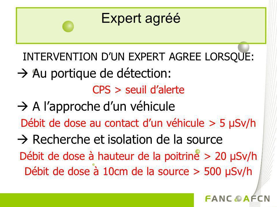 Expert agréé  Au portique de détection:  A l'approche d'un véhicule