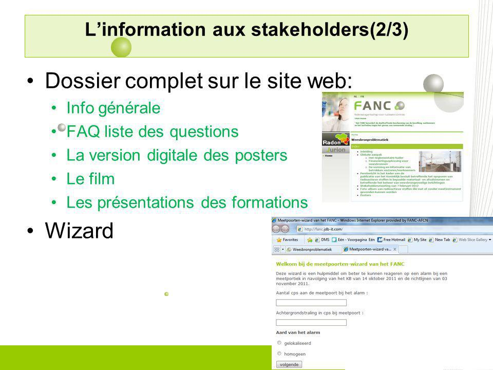 L'information aux stakeholders(2/3)